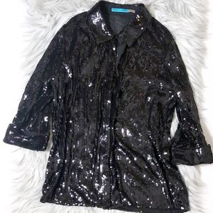 Alice and Olivia Sequin Button Down Shirt
